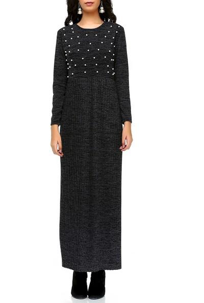 Bonalodi Eteği Piliseli İncili Triko Siyah Uzun Maxi Kadın Elbise