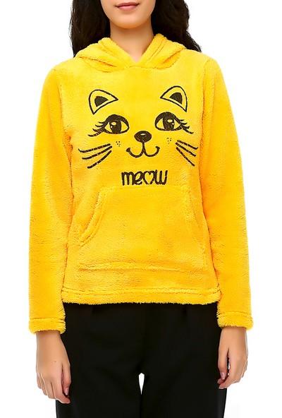 Bonalodi Kapüşonlu Peluş Meow Kadın Sarı Sweat