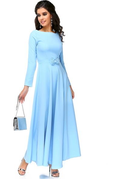 Bonalodi Bebe Mavi Kurdele Detay Maxi Uzun Kadın Elbise
