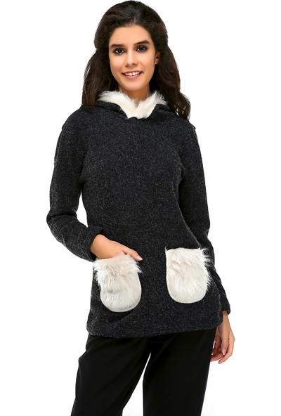 Bonalodi Kapüşon Ve Cep Peluş Detaylı Siyah Kadın Tunik Sweatshirt