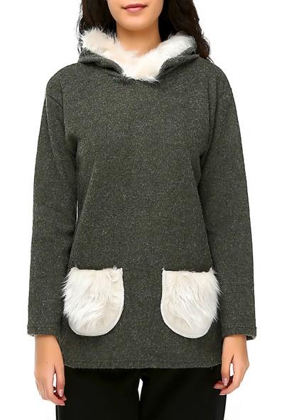 Bonalodi Kapüşon Ve Cep Peluş Detaylı Haki Kadın Tunik Sweatshirt