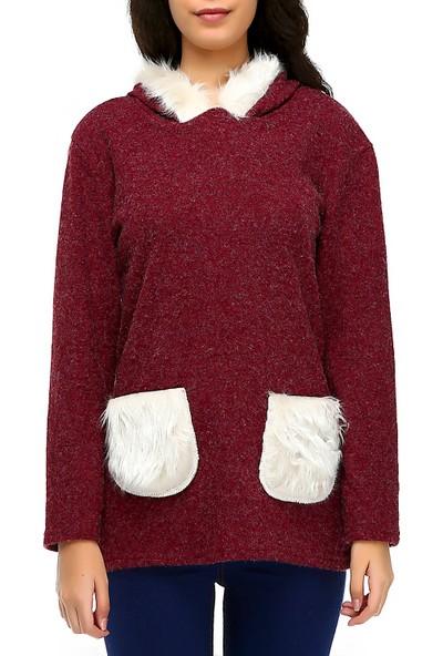 Bonalodi Kapüşon Ve Cep Peluş Detaylı Bordo Kadın Tunik Sweatshirt