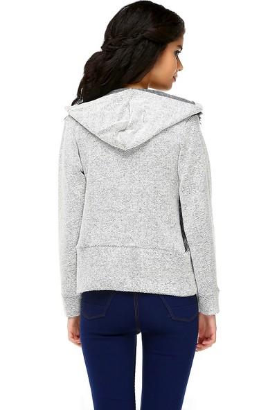 Bonalodi Kapüşonlu Füme Ön Peluş Kadın Sweatshirt