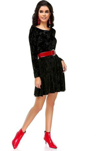 Bonalodi Kadife Kloş Siyah Kadın Mini Elbise