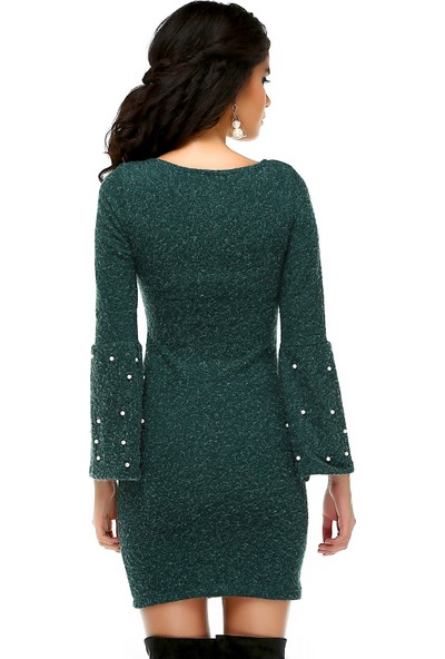 Bonalodi İspanyol Kol İnci Detay V Yaka Yeşil Kadın Elbise