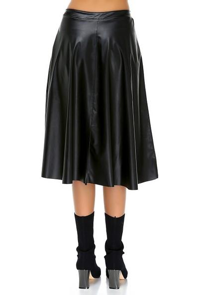Bonalodi Midi Çıtçıt Kloş Kadın Deri Siyah Etek