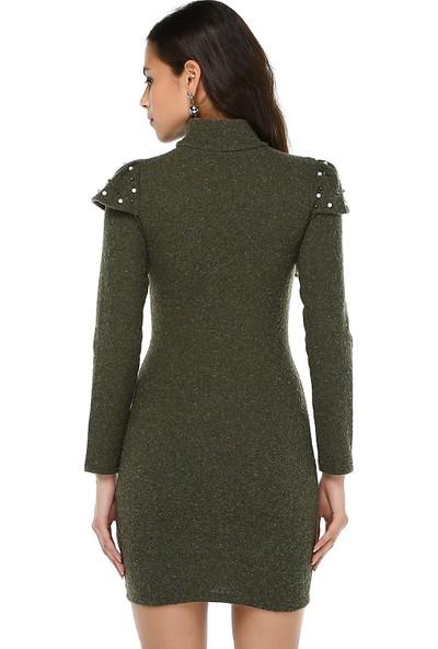 Bonalodi Boğazlı Kırçıllı Triko Omuz İnci Detay Haki Bayan Elbise