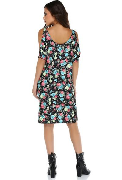 Quincey Kadın Geniş Kesim Omuz Dekolteli Elbise