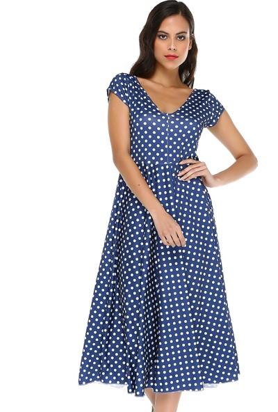 Quincey Kadın Puantiyeli V Yaka Elbise
