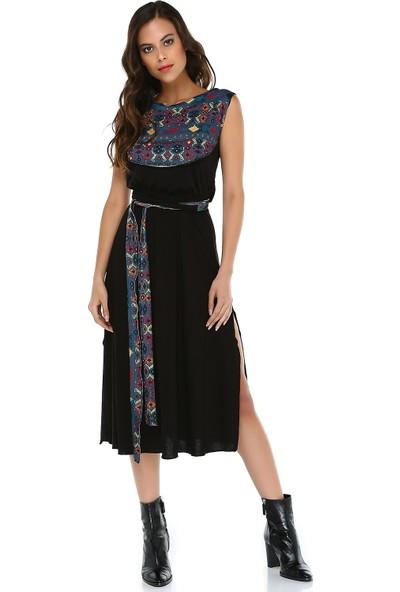 Quincey Kadın Midi Viskon Elbise