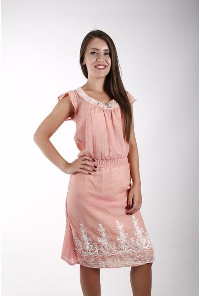 Sude Bayan Keten Elbise 11127