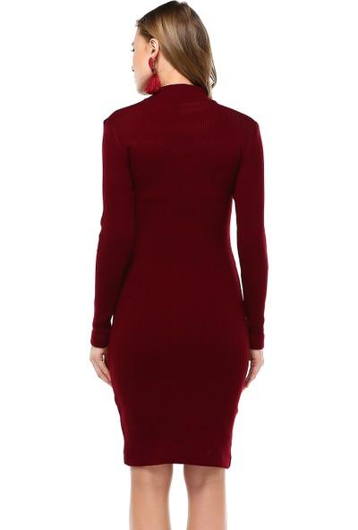 Sense 31026 Uzun Kollu Tül Detaylı Elbise