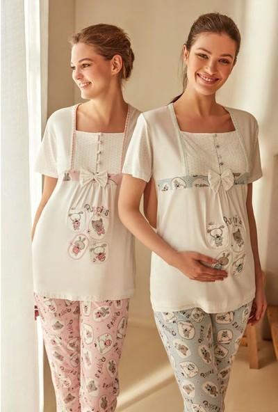 Feyza 3271 Lohusa Kısa Kol Pijama Takımı + Bebek Önlüğü
