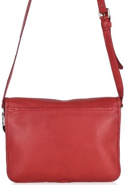 Gön Hakiki Deri Kadın Kapaklı Çapraz Çanta 132-Derin Kırmızı