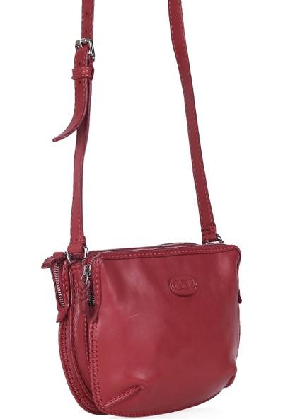 Gön Hakiki Deri Kadın Çapraz Çanta 138 Kırmızı
