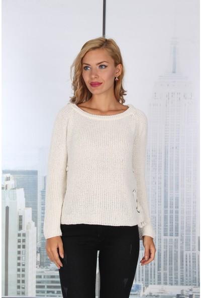 Moda Rota Dm-17127-Be Kuşgözlü Bayan Kazak
