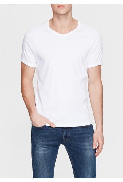 Mavi V Yaka Beyaz Basic T-Shirt