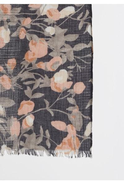 Mavi Kadın Çiçek Desenli Şal 194364-25767