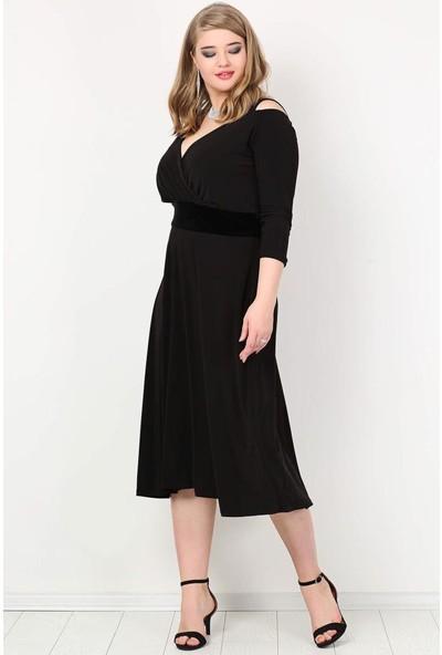 Kl7005 Büyük Beden Omuz Askılı Abiye Elbise Siyah