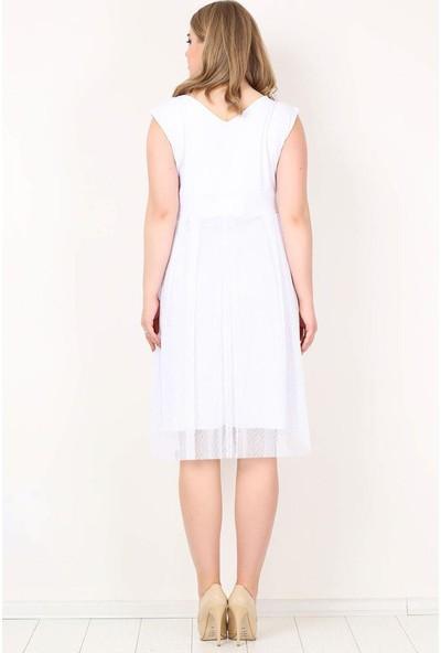 Kl7878 Büyük Beden Puantiye Tüllü Mini Abiye Elbise Beyaz