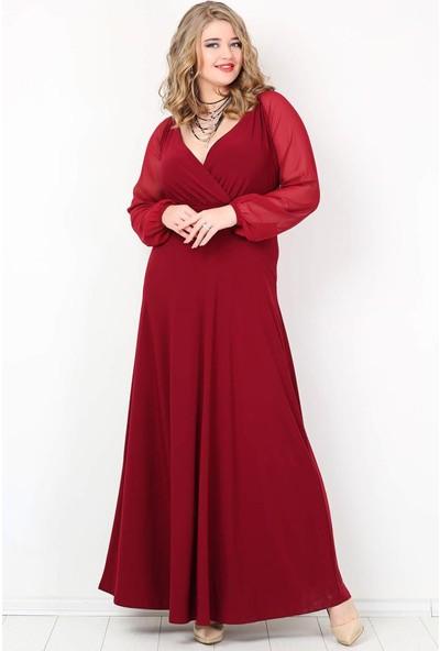 Kl59S Büyük Beden Abiye Kolları Şifon Uzun Abiye Elbise Bordo