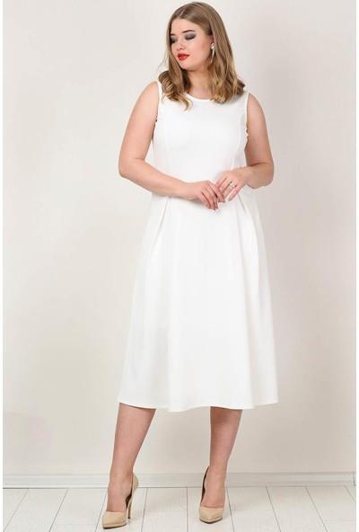 Kl777 Büyük Beden Cepli Elbise Beyaz