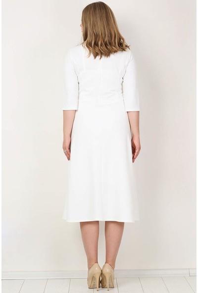 Kl778 Büyük Beden Cepli Elbise Beyaz