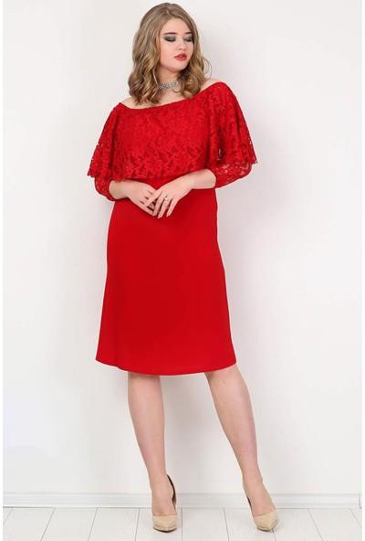 Kl779K Büyük Beden Omzu Açık Mini Abiye Elbise Kırmızı