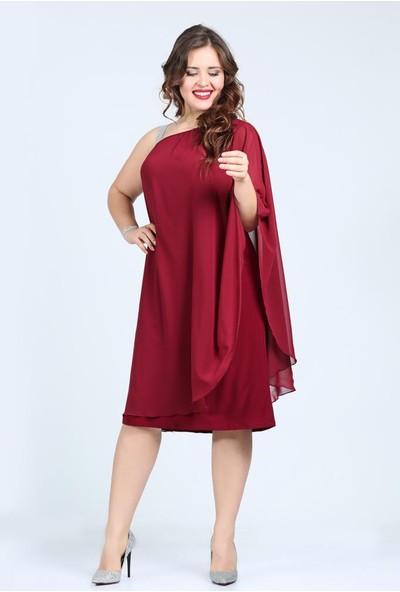 Kl6060 Bordo Abiye Elbise