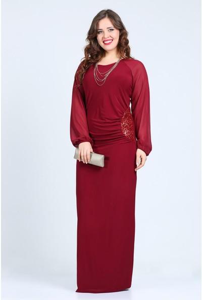 Kl8463 Bordo Abiye Elbise