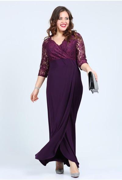 Kl8756 Lila Abiye Elbise