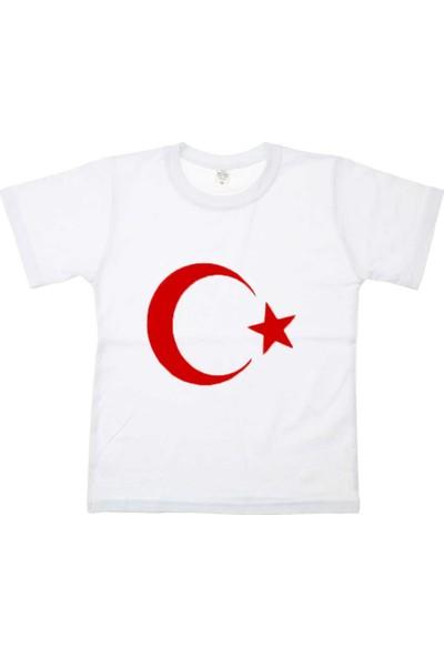 Modakids Bayrak Baskılı S - M - L - XL Tshirt 019-1926-027