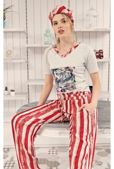 Fantasy F-6001 Yaprak Desen İkili Kadın Pijama Takımı