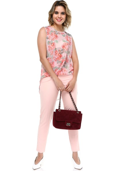 B&S Line Şifon Bluz Takım Pudra
