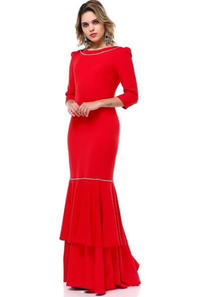 B&S Line Yakası Taşlı Abiye Elbise Kırmızı