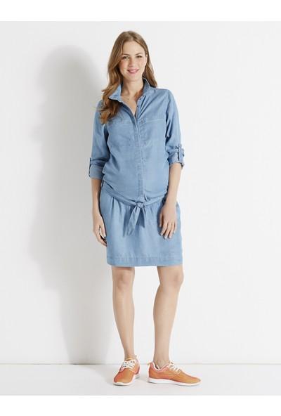 Colline Hamile Açık Mavi Kot Elbise