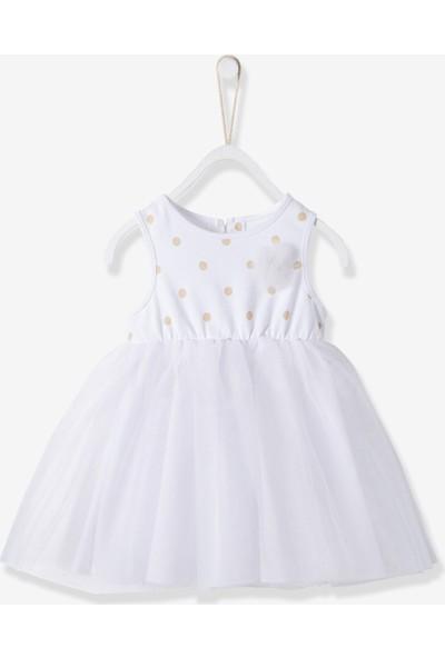 Vertbaudet Kız Bebek Beyaz Parti Elbise