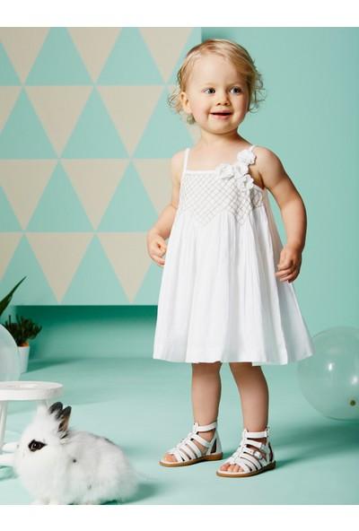 Vertbaudet Kız Bebek Şortlu Beyaz Elbise
