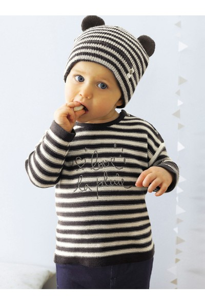 Vertbaudet Kız Bebek Pamuklu Siyah Triko