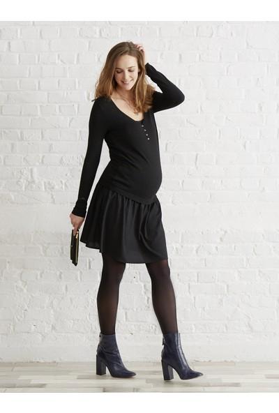 Colline Hamile Siyah Emzirme Elbise