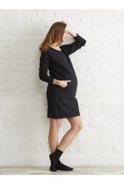 Colline Hamile Siyah Pamuklu Elbise