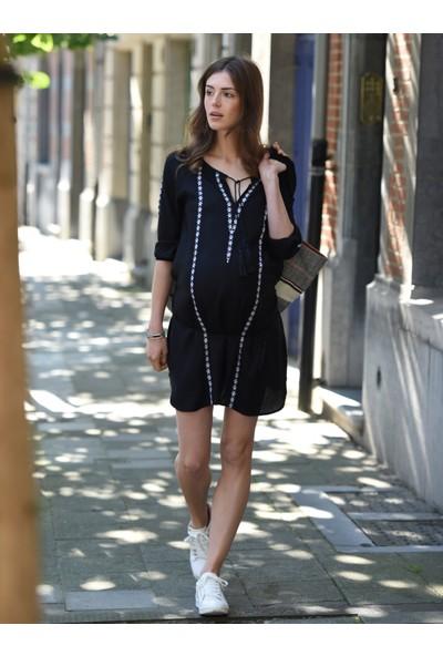 Colline Hamile İşlemeli Siyah Plaj Elbise