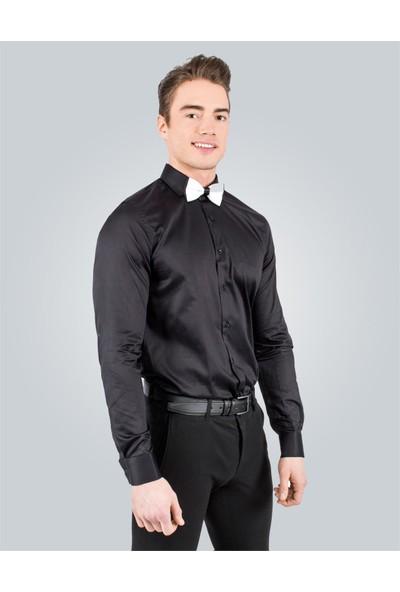 Tudors Slim Fit Siyah Erkek Gömlek