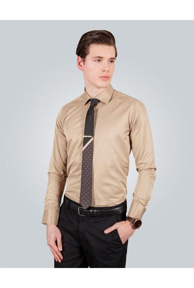 Tudors Slim Fit Kahverengi Erkek Gömlek