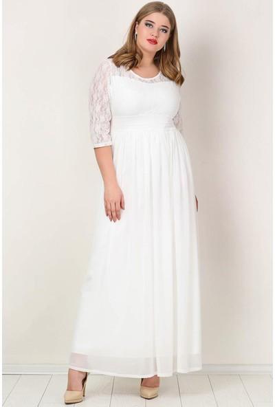 Angelino Butik KL4009K Büyük Beden Şifon Likralı Uzun Abiye Elbise Beyaz