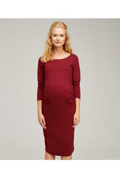 Hooyo Hamile Omuzları Süslemeli Elbise Ela