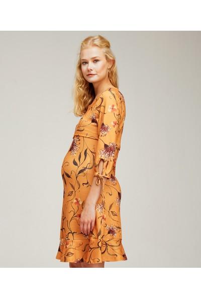 Hooyo Emzirme Özellikli Fırfırlı Hamile Elbisesi Olenna