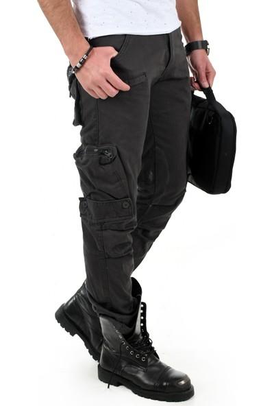Deepsea Füme Dar Kesim Cepleri Ters-Fermuarlı Erkek Kargo Pantolon 1611193