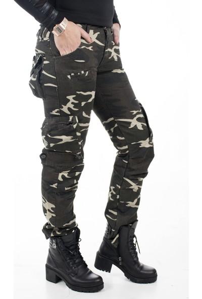 Deepsea Koyu Yeşil-Bej Yıkamalı Dar Kesim Bayan Askeri Kamuflaj Pantolon 1621194