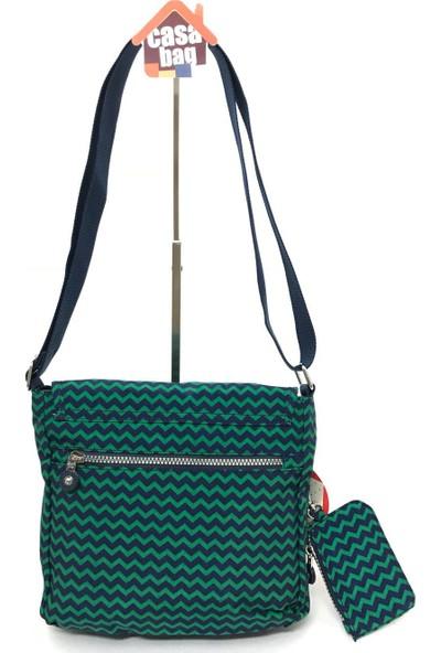 Smart Bags Krinkıl Kumaş Kadın Omuz - Çapraz Çantası Lacivert - Yeşil
